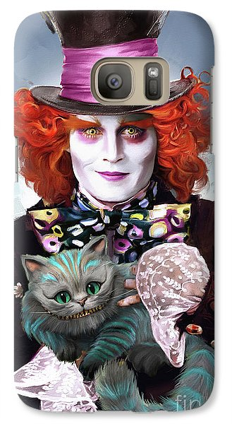 Mad Hatter And Cheshire Cat Galaxy Case by Melanie D