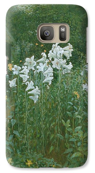 Madonna Lilies In A Garden Galaxy Case by Walter Crane