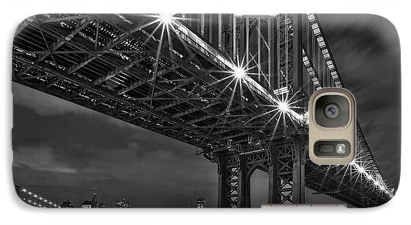 Manhattan Bridge Frames The Brooklyn Bridge Galaxy Case by Susan Candelario