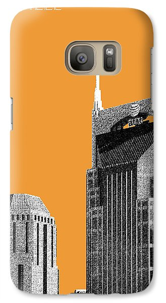 Nashville Skyline At And T Batman Building - Orange Galaxy Case by DB Artist