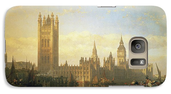 New Palace Of Westminster From The River Thames Galaxy S7 Case by David Roberts