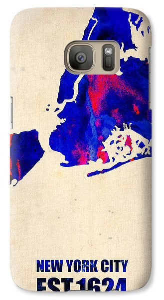 New York City Watercolor Map 1 Galaxy Case by Naxart Studio
