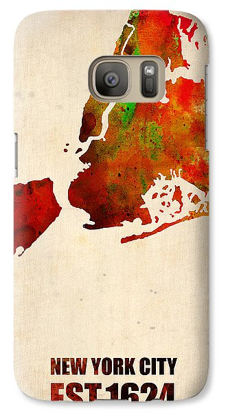 New York City Watercolor Map 2 Galaxy Case by Naxart Studio