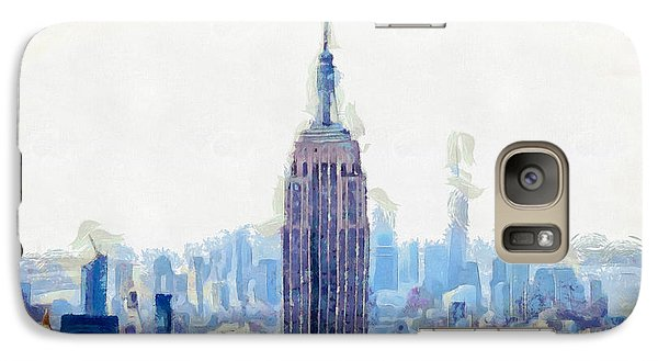New York Skyline Art- Mixed Media Painting Galaxy Case by Wall Art Prints
