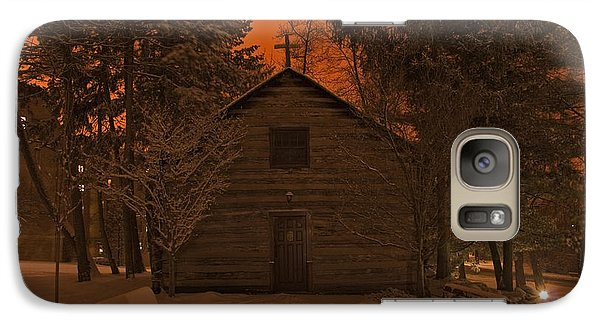Notre Dame Log Chapel Winter Night Galaxy S7 Case by John Stephens