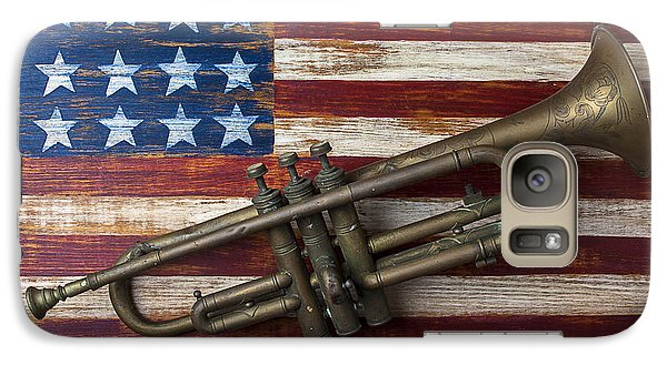 Old Trumpet On American Flag Galaxy Case by Garry Gay