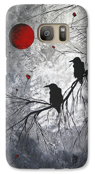 Original Abstract Surreal Raven Red Blood Moon Painting The Overseers By Madart Galaxy S7 Case by Megan Duncanson