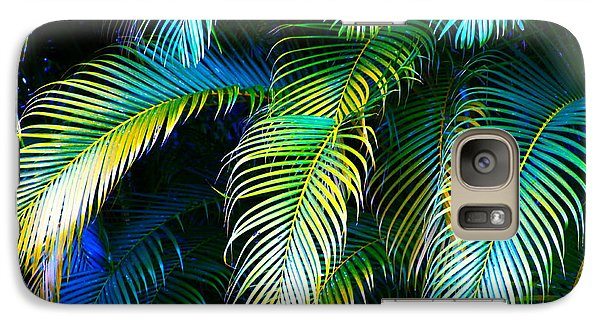 Palm Leaves In Blue Galaxy S7 Case by Karon Melillo DeVega