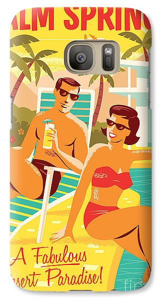 Palm Springs Retro Travel Poster Galaxy S7 Case by Jim Zahniser