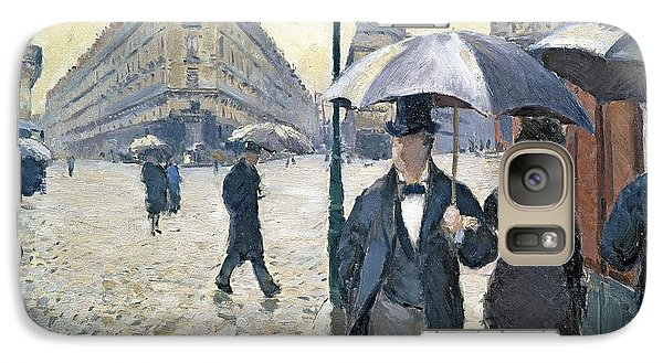 Paris A Rainy Day Galaxy Case by Gustave Caillebotte