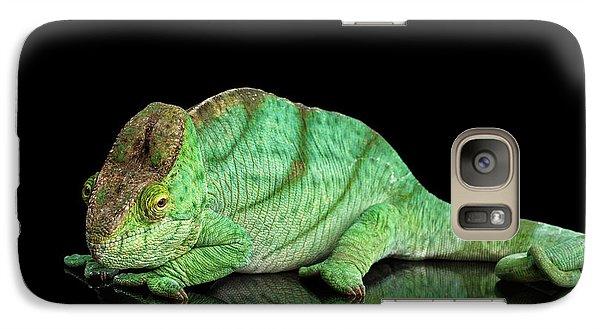 Parson Chameleon, Calumma Parsoni Orange Eye On Black Galaxy Case by Sergey Taran