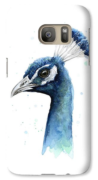 Peacock Watercolor Galaxy S7 Case by Olga Shvartsur