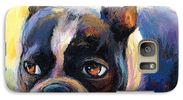 Pensive Boston Terrier Dog Painting Galaxy S7 Case by Svetlana Novikova