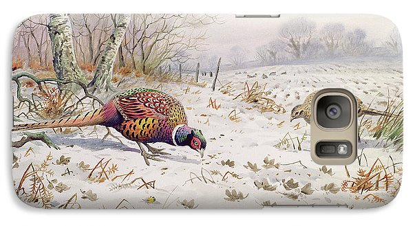 Pheasant And Partridge Eating  Galaxy S7 Case by Carl Donner