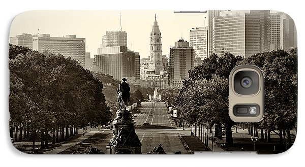 Philadelphia Benjamin Franklin Parkway In Sepia Galaxy Case by Bill Cannon