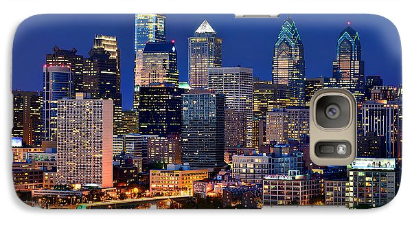 Philadelphia Skyline At Night Galaxy Case by Jon Holiday