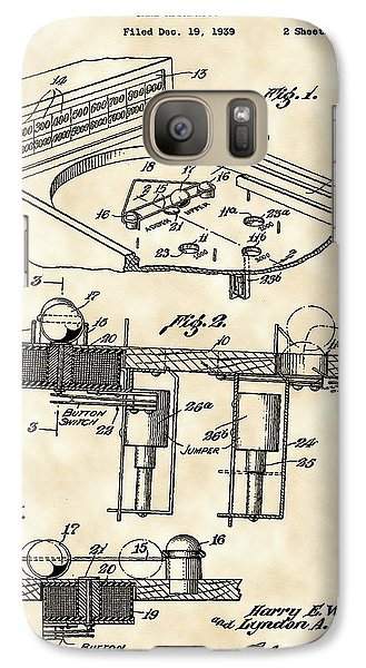 Pinball Machine Patent 1939 - Vintage Galaxy S7 Case by Stephen Younts