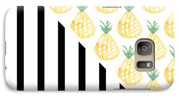 Pineapples And Stripes Galaxy S7 Case by Linda Woods