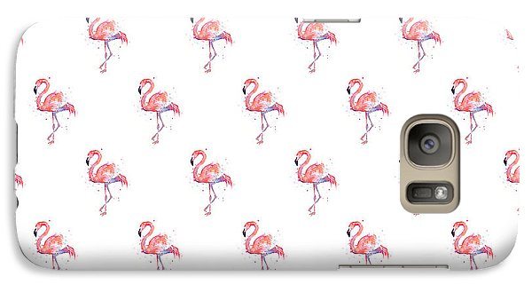 Pink Flamingo Watercolor Pattern Galaxy S7 Case by Olga Shvartsur