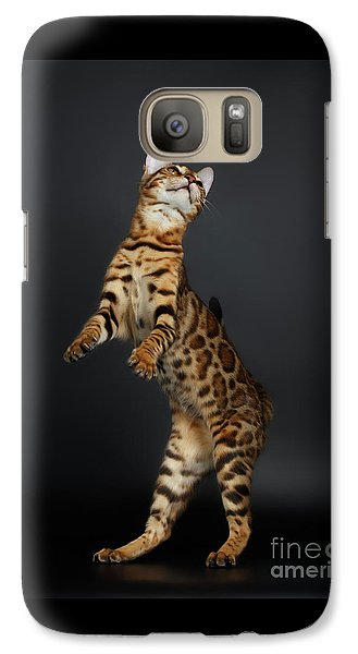 Playful Female Bengal Cat Stands On Rear Legs Galaxy Case by Sergey Taran