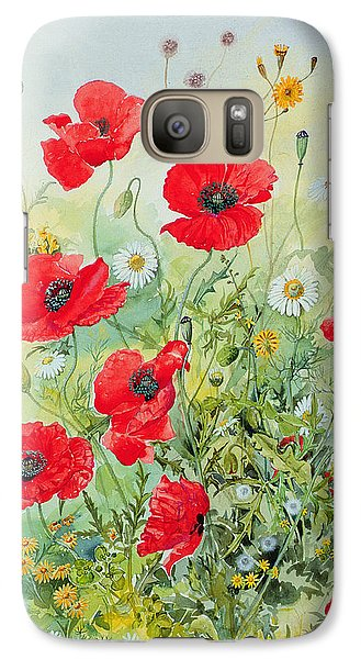 Poppies And Mayweed Galaxy Case by John Gubbins