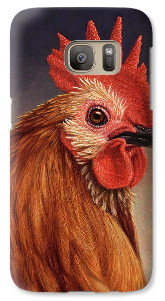 Portrait Of A Rooster Galaxy Case by James W Johnson