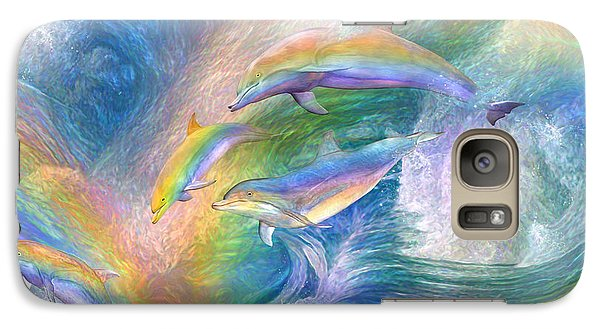 Rainbow Dolphins Galaxy S7 Case by Carol Cavalaris