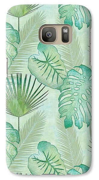 Rainforest Tropical - Elephant Ear And Fan Palm Leaves Repeat Pattern Galaxy Case by Audrey Jeanne Roberts