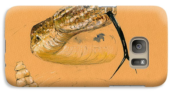 Rattlesnake Painting Galaxy Case by Juan  Bosco