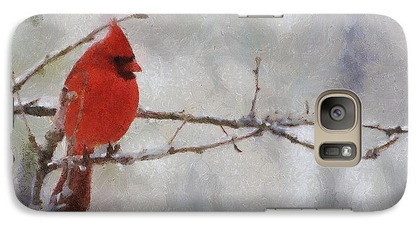 Red Bird Of Winter Galaxy S7 Case by Jeff Kolker