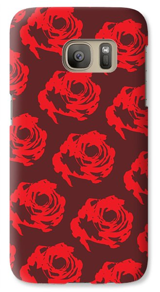 Red Rose Pattern Galaxy Case by Cortney Herron