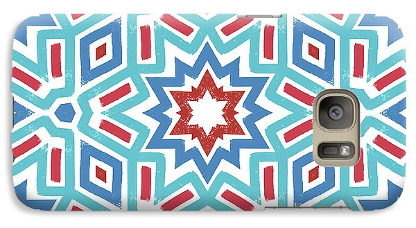Red White And Blue Fireworks Pattern- Art By Linda Woods Galaxy Case by Linda Woods