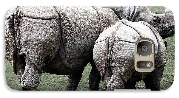 Rhinoceros Mother And Calf In Wild Galaxy S7 Case by Daniel Hagerman