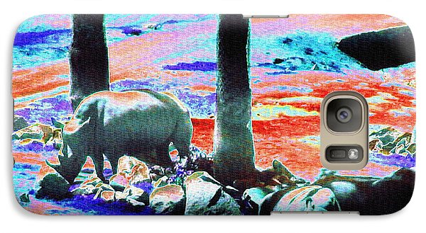Rhinos Having A Picnic Galaxy Case by Abstract Angel Artist Stephen K