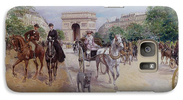 Riders And Carriages On The Avenue Du Bois Galaxy Case by Georges Stein