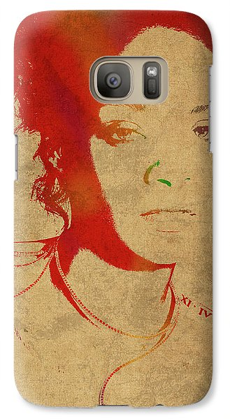 Rihanna Watercolor Portrait Galaxy Case by Design Turnpike