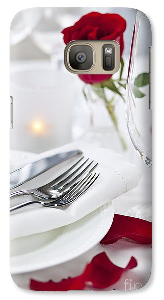 Romantic Dinner Setting With Rose Petals Galaxy S7 Case by Elena Elisseeva
