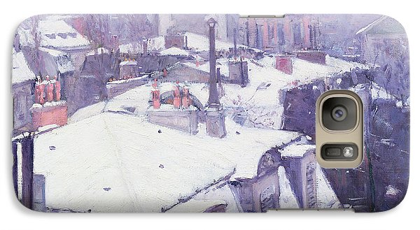 Roofs Under Snow Galaxy Case by Gustave Caillebotte