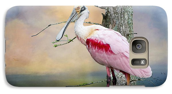 Roseate Spoonbill In Treetop Galaxy S7 Case by Bonnie Barry