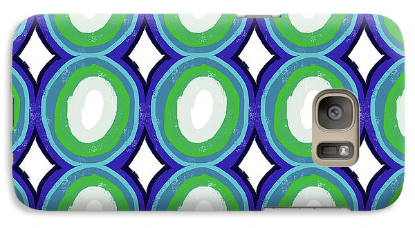 Round And Round Blue And Green- Art By Linda Woods Galaxy S7 Case by Linda Woods