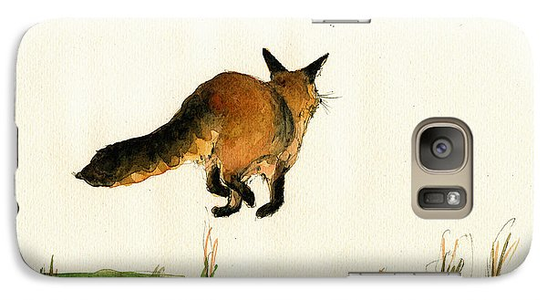 Running Fox Painting Galaxy Case by Juan  Bosco