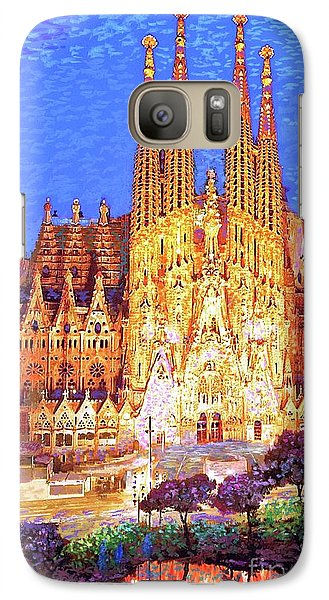 Sagrada Familia At Night Galaxy Case by Jane Small
