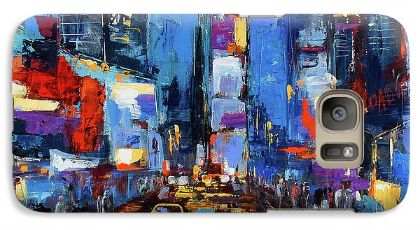 Saturday Night In Times Square Galaxy Case by Elise Palmigiani