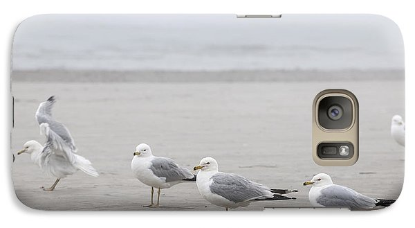 Seagulls On Foggy Beach Galaxy Case by Elena Elisseeva