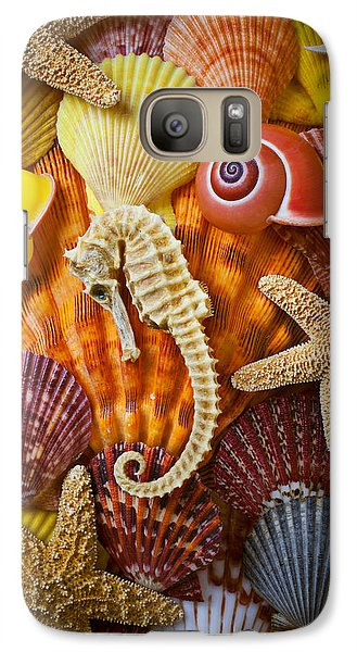 Seahorse And Assorted Sea Shells Galaxy S7 Case by Garry Gay