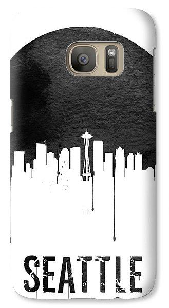 Seattle Skyline White Galaxy Case by Naxart Studio