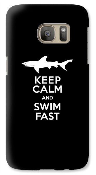 Shark Keep Calm And Swim Fast Galaxy Case by Antique Images
