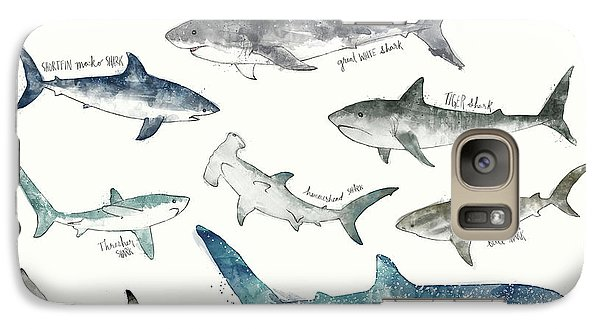 Sharks - Landscape Format Galaxy Case by Amy Hamilton
