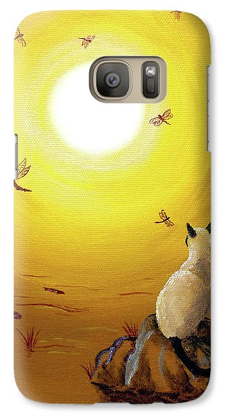 Siamese Cat With Red Dragonflies Galaxy Case by Laura Iverson