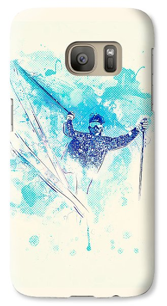 Skiing Down The Hill Galaxy S7 Case by Bekare Creative